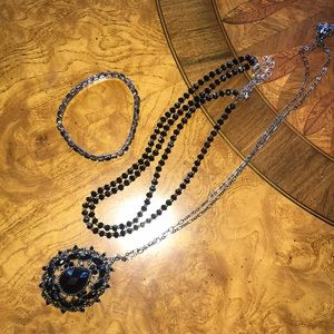 Monet three piece black fashion jewelry Bundle